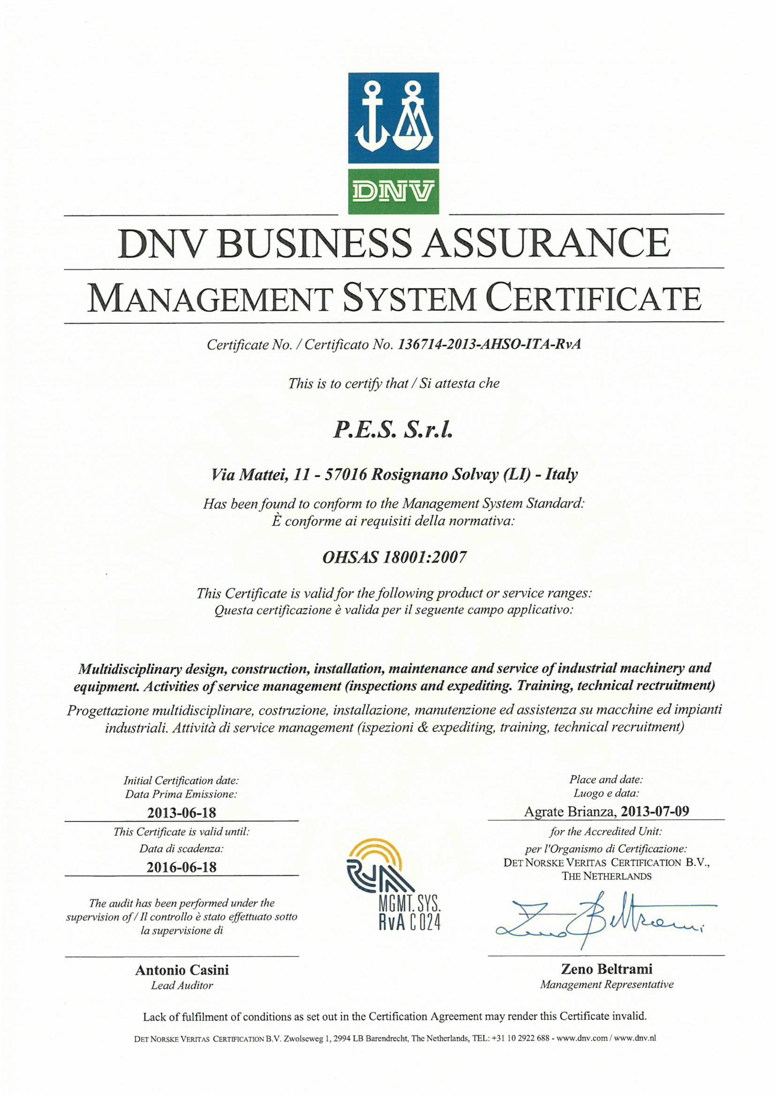 Certification Pes Srl Engineering Service Solutions